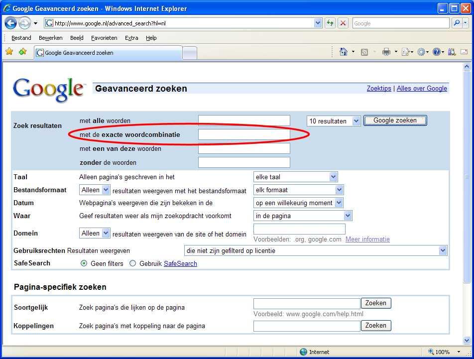 Exact zoeken met google computer idee - Geavanceerd zoeken ...